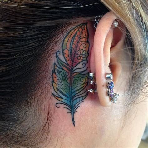 rainbow tattoo behind ear 38 amazing feather behind the ear tattoos