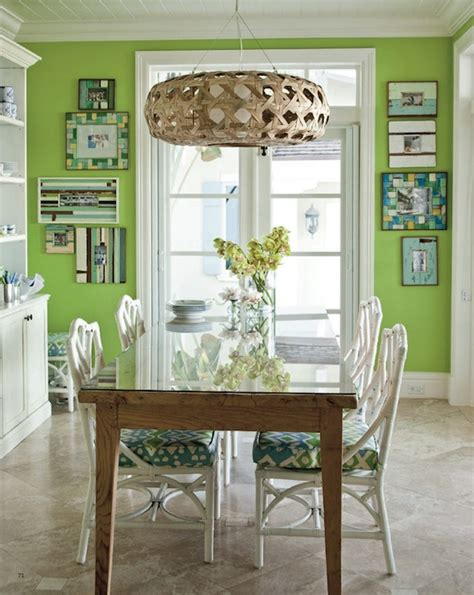 Dining Room With Apple Green Walls And Beautiful Curtains | green dining room cottage dining room coastal living