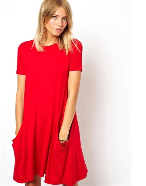 swing dress with pockets asos asos swing dress with pockets and short sleeves at asos