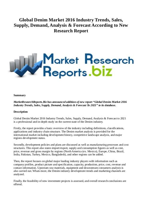 research reports sles global denim market 2016 industry trends sales supply