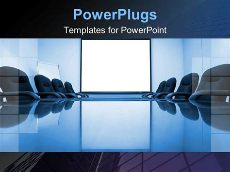 Powerpoint Template Blue Conference Room With Office Chairs And White Powerpoint Slide For Department Presentation Templates
