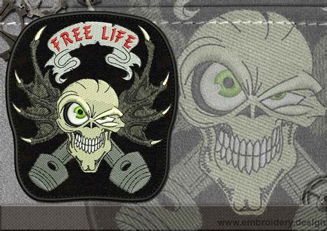 design online patches biker patch free life skull