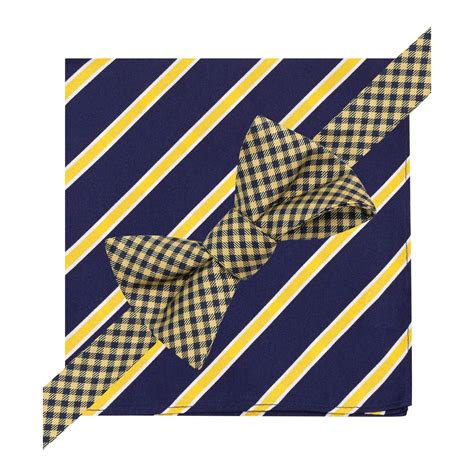 hilfiger gingham bow tie and stripe pocket square