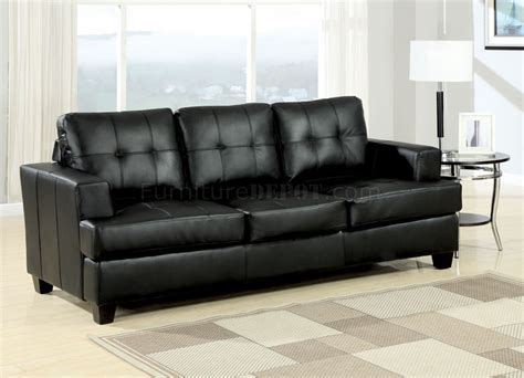 Black Sleeper Sofa Black Bonded Leather Modern Sofa W Size Sleeper