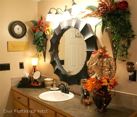 Fall Bathroom Decor by Beautiful Fall Bathroom Decor With Pumpkin Flowers And