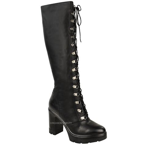 knee high chunky heel boots womens chunky block heel cleated sole lace up