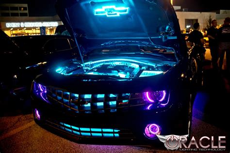 Purple Halo Lights chevy camaro with purple modified headlights and custom