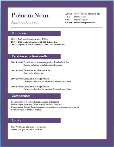 Resume Model Word by Exemples Et Mod 232 Les De Cv Gratuits 65 224 72 Exemple De Cv Info