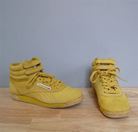 vintage high top sneakers vintage golden yellow reebok high top sneakers 8 by secretlake