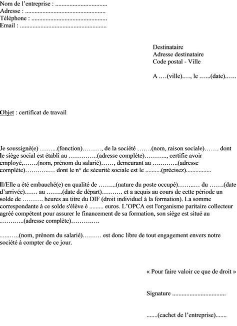 Attestation Employeur Fin De Contrat