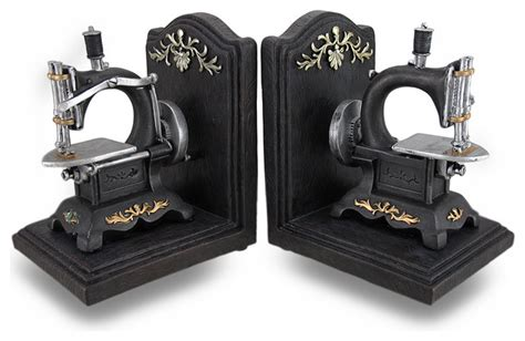 Resin Bookends Gold Set Of 2 vintage style sewing machine cast resin bookend set of 2 traditional bookends by zeckos