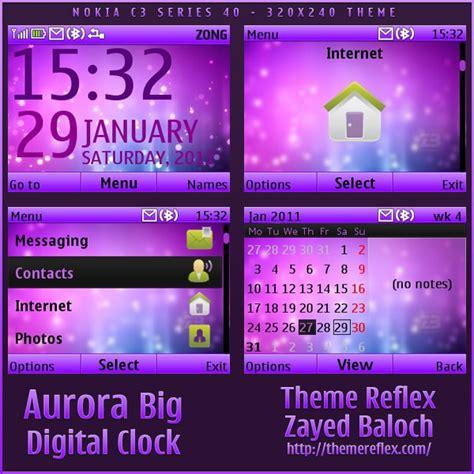 digital clock themes software download aurora big clock nokia c3 x2 01 theme themereflex