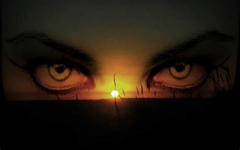 eyest in the night with sunset free ppt backgrounds for