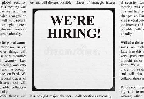 Job Ad In Newspaper Stock Image Image Of Printed Aspirations 51248671 Help Wanted Newspaper Ad Template