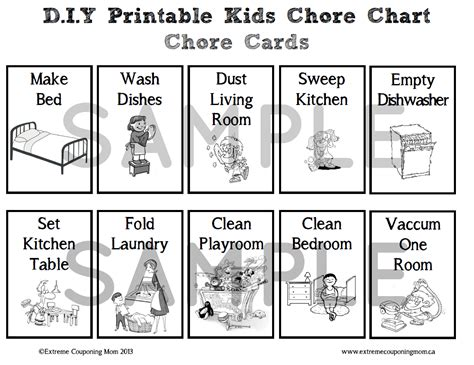 printable chore card template printable children s chore chart archives