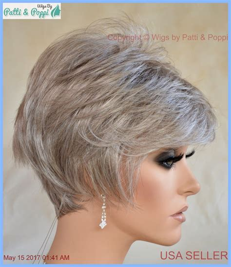 salt and pepper pixie cut human hair wigs sythetic short hair wig for women color grey 56 salt