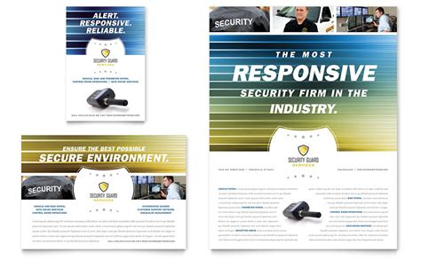 alarm security code card template security guard flyer ad template word publisher