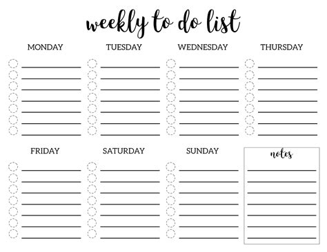 Printable Checklist Template