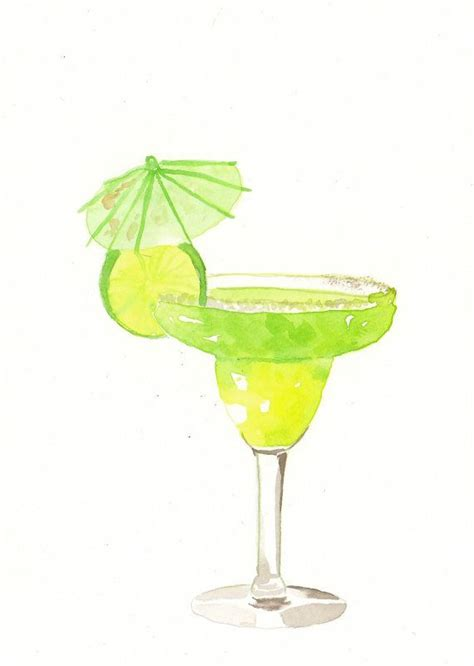 margarita drawing original watercolor painting green margarita cocktail by