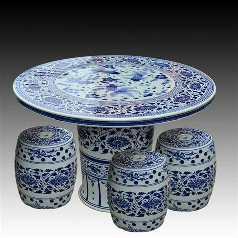 Antique Blue And White Ceramic Porcelain Garden Table And Stool With Design Buy Antique Blue And White Ceramic Garden Stool Table Set