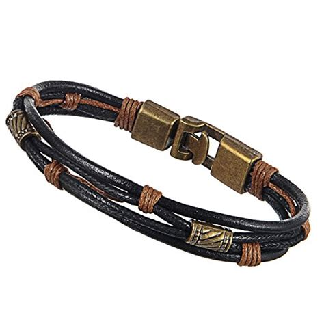 Handmade Mens Braided Leather Bracelets - bracelet 15 black areke mens braided leather cuff
