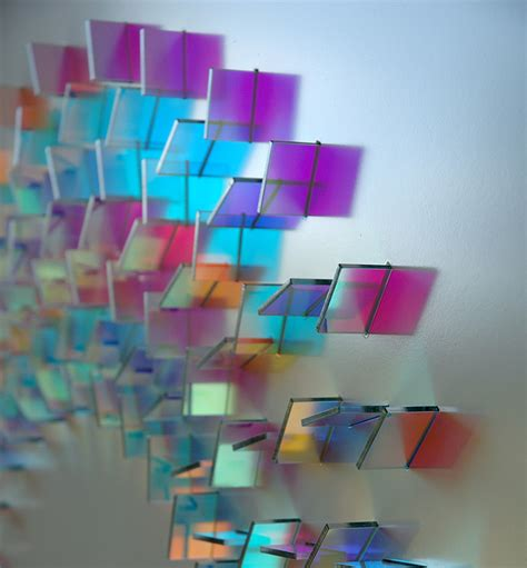 Colored Glass by Geometric Dichroic Glass Installations By Chris Wood Colossal