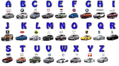 Car Types That Start With A by Learn The Alphabet From A To Z With The Car Brand