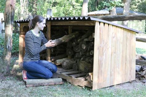build  outdoor firewood storage shed  tos diy