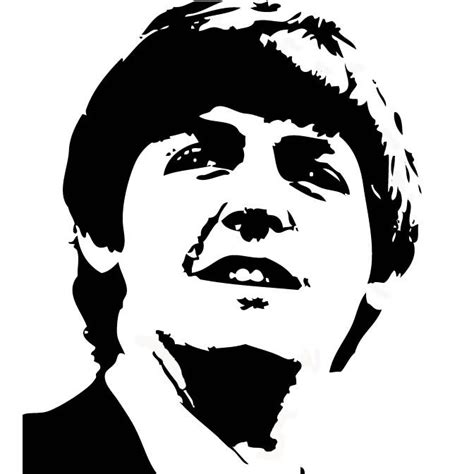 Kaos The Beatles Logo Stencil black and white vector of paul mccartney in photo shop