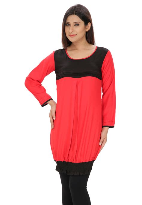 Tunik Rayon 1 plain rayon cotton tunic in coral and black trq174