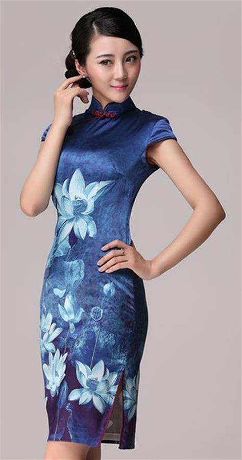 Dress Cheongsam 3001671409 C blue lotus flowers heavy silk cheongsam qipao dress modern cheongsam qipao
