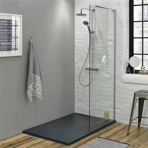 Contemporary Heated Towel Rails For Bathrooms - summit walk in enclosure amp grey slate effect shower tray 1400 x 900mm sanctuary bathrooms