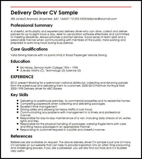 Delivery Driver Resume by Delivery Driver Cv Sle Myperfectcv