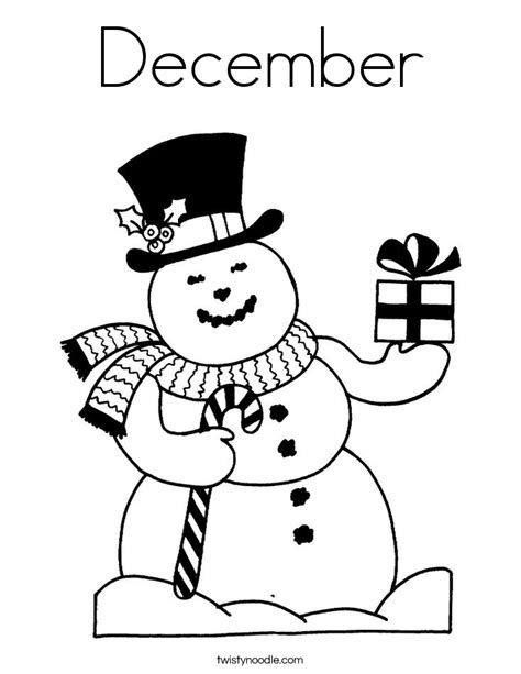 December Coloring Page Twisty Noodle December Coloring Page