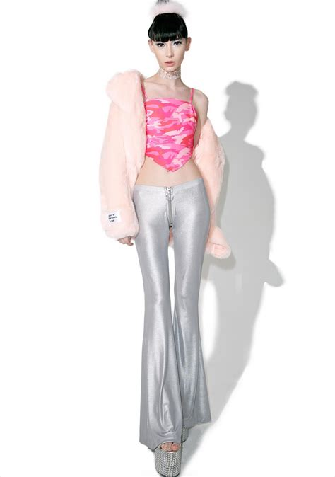 Vivia Top Pink V05 pink camo pointed crop top dolls kill