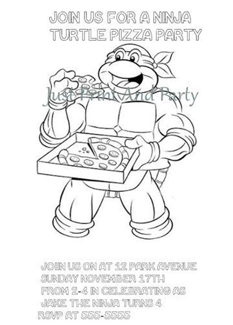 ninja turtle coloring pages birthday teenage mutant ninja turtles birthday colouring invitation