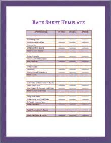 rate sheet template free microsoft word templates free