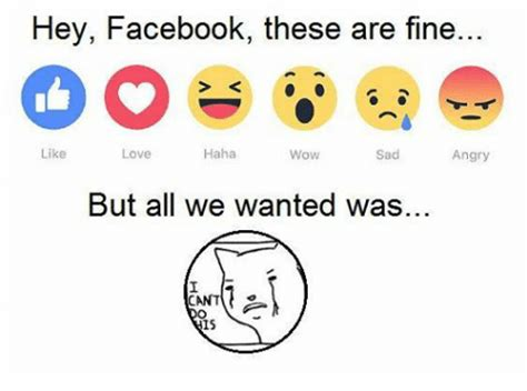 Facebook Memes About Love - hey facebook these are fine haha like love wow sad angry