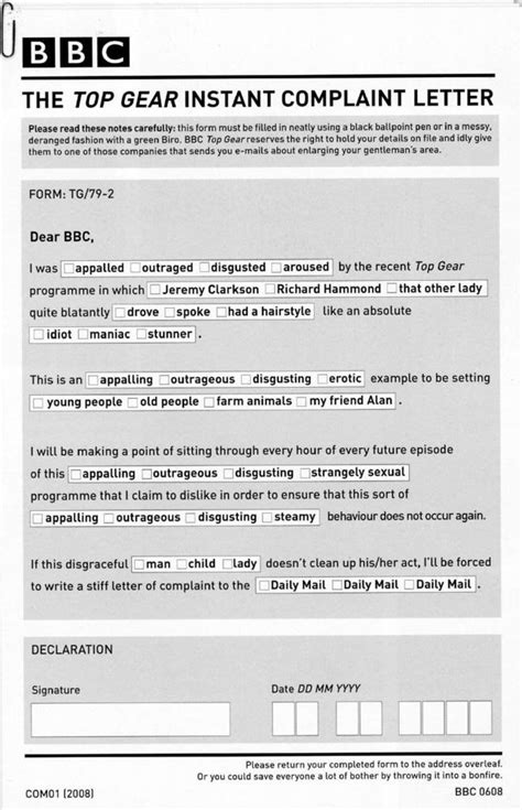 Complaint Letter Joke The Top Gear Instant Complaint Letter Is Genius