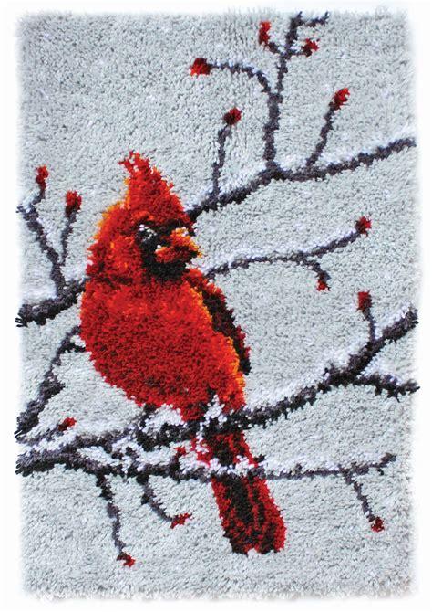 wonderart latch hook kit cardinal    readicutcouk
