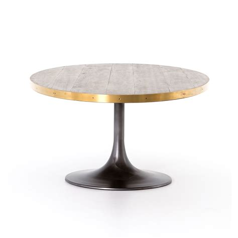 oval iron oak and brass tulip base dining table mecox