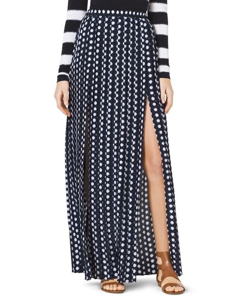 michael kors michael pleated doubleslit maxi skirt in blue