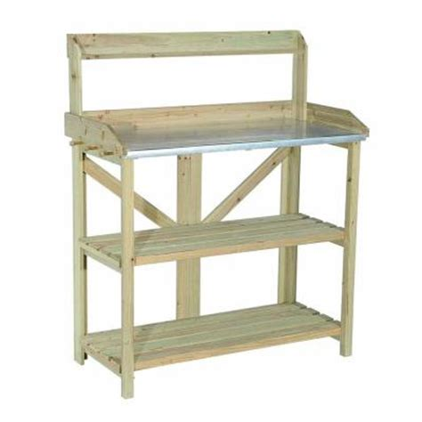 potting bench home depot sunjoy church wood 39 in x 47 5 in natural brown wood