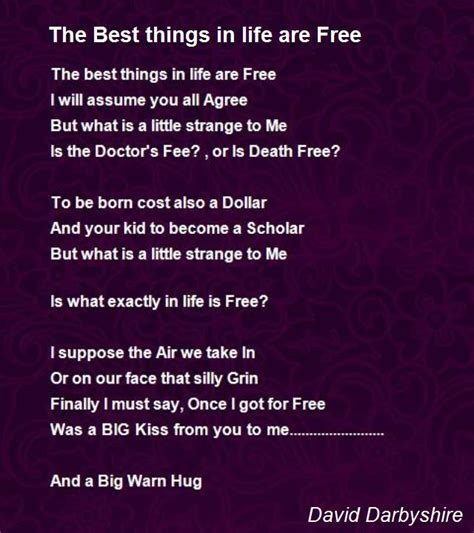 free the best the best things in are free poem by david darbyshire