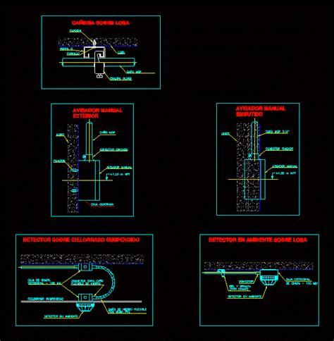 details mounts detectors  manual call points dwg detail