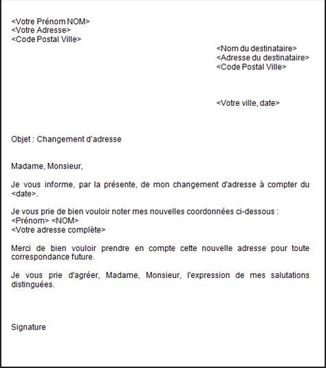 Exemple De Lettre Pour Depart Congé Maternité Lettre Changement D Adresse D 233 M 233 Nagement Offic 233 O