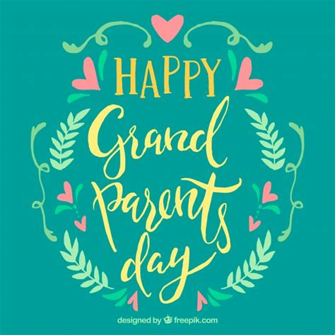 Happy Writing vintage happy grandparents day writing with floral details
