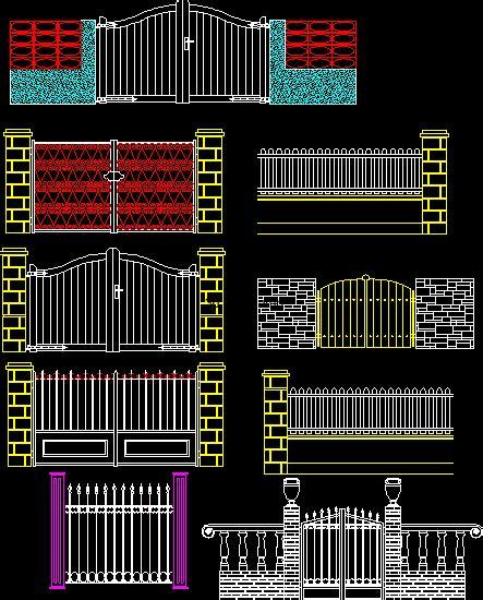 metal gates  autocad cad   kb bibliocad