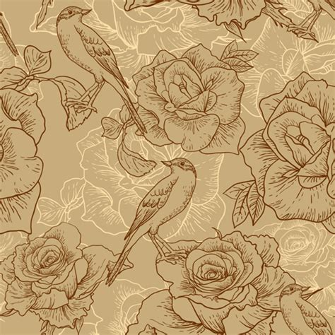 hand drawn flower pattern vintage hand drawn birds and flower pattern vector