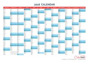 Calendar 2018 Year Planner Yearly Calendar Year 2018 Yearly Horizontal Planning